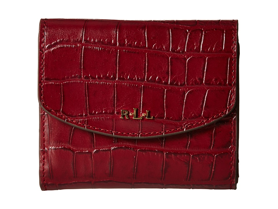 LAUREN by Ralph Lauren - Darwin Embossed Croc French Purse (Rosewood) Handbags
