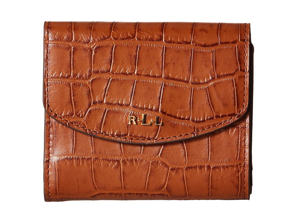 LAUREN by Ralph Lauren - Darwin Embossed Croc French Purse (Bourbon) Handbags
