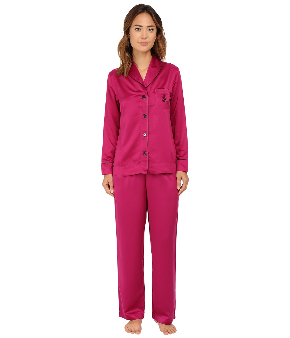 LAUREN Ralph Lauren - Shawl Collar Satin PJ (Magenta) Women's Pajama Sets