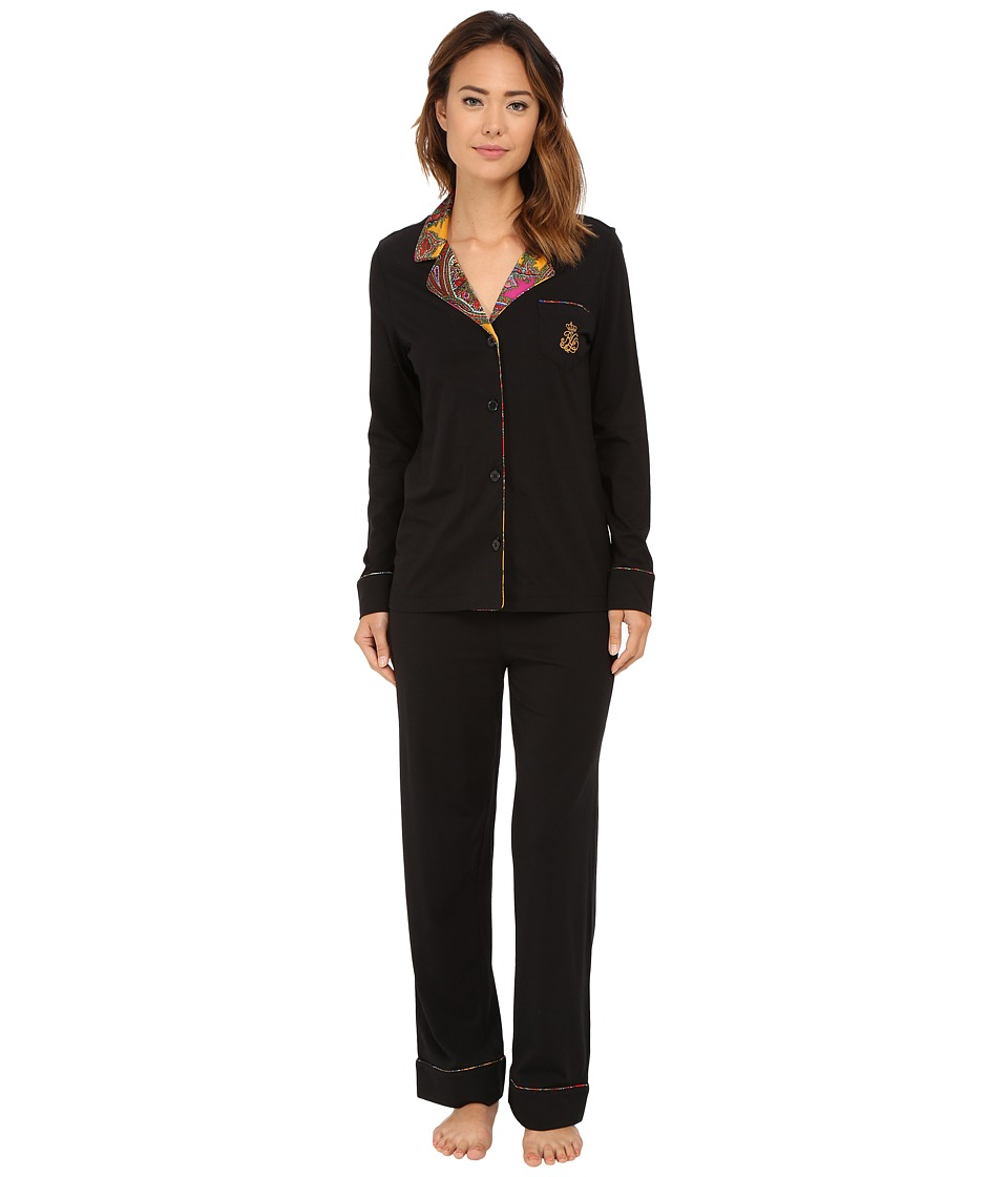LAUREN Ralph Lauren - Notch Collar PJ with Satin Trim (Emerson Paisley Multi) Women's Pajama Sets