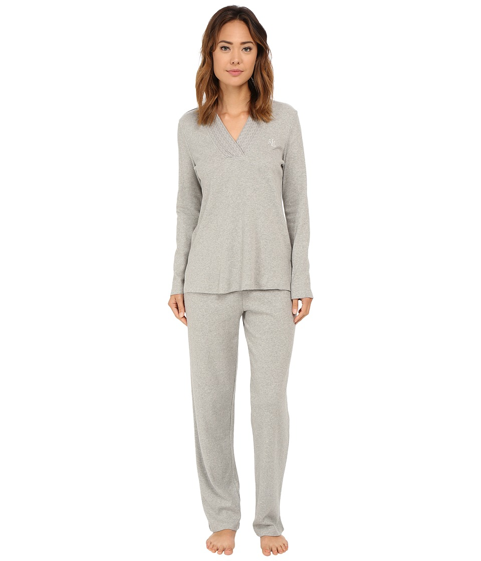 LAUREN Ralph Lauren - Lounge PJ Set (Grey Heather) Women's Pajama Sets
