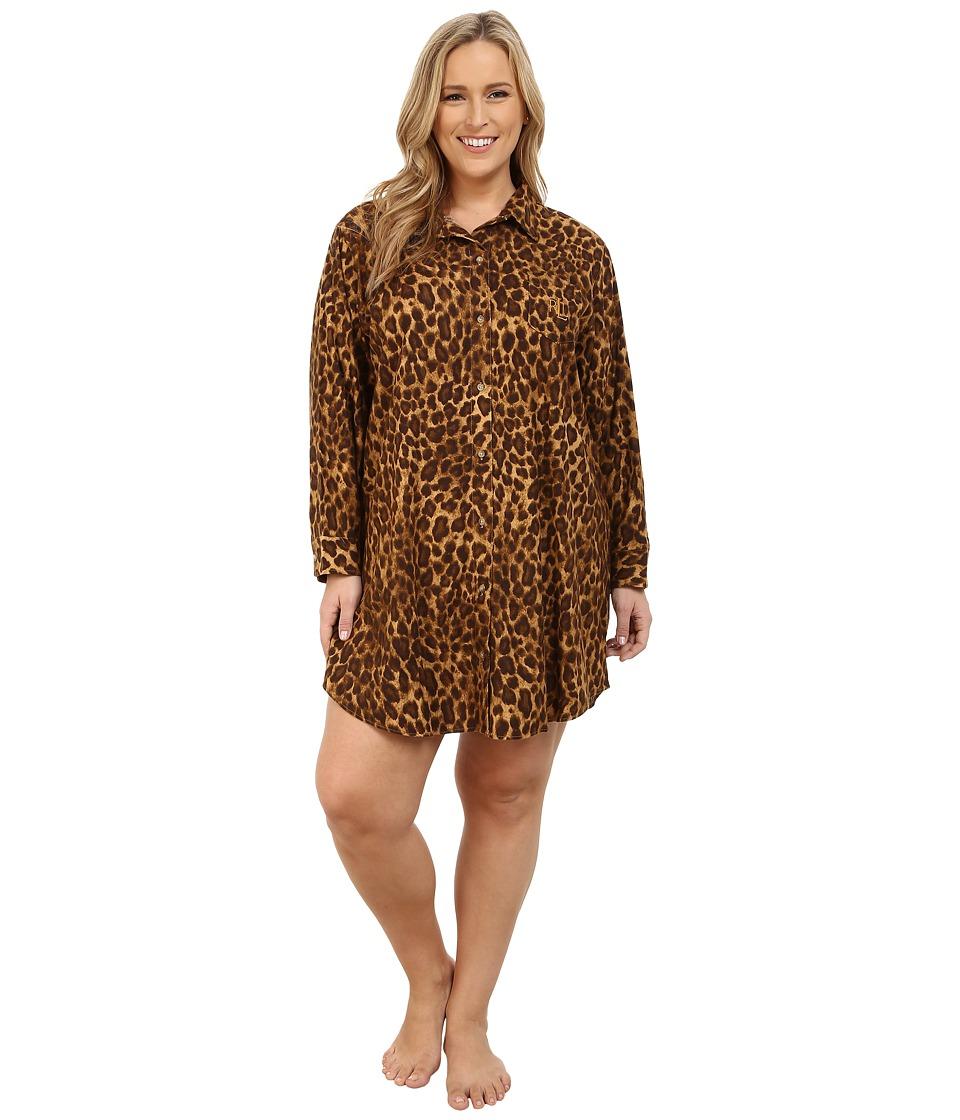 LAUREN Ralph Lauren - Plus Size Flannel Sleepshirt (Nilsson Leopard) Women