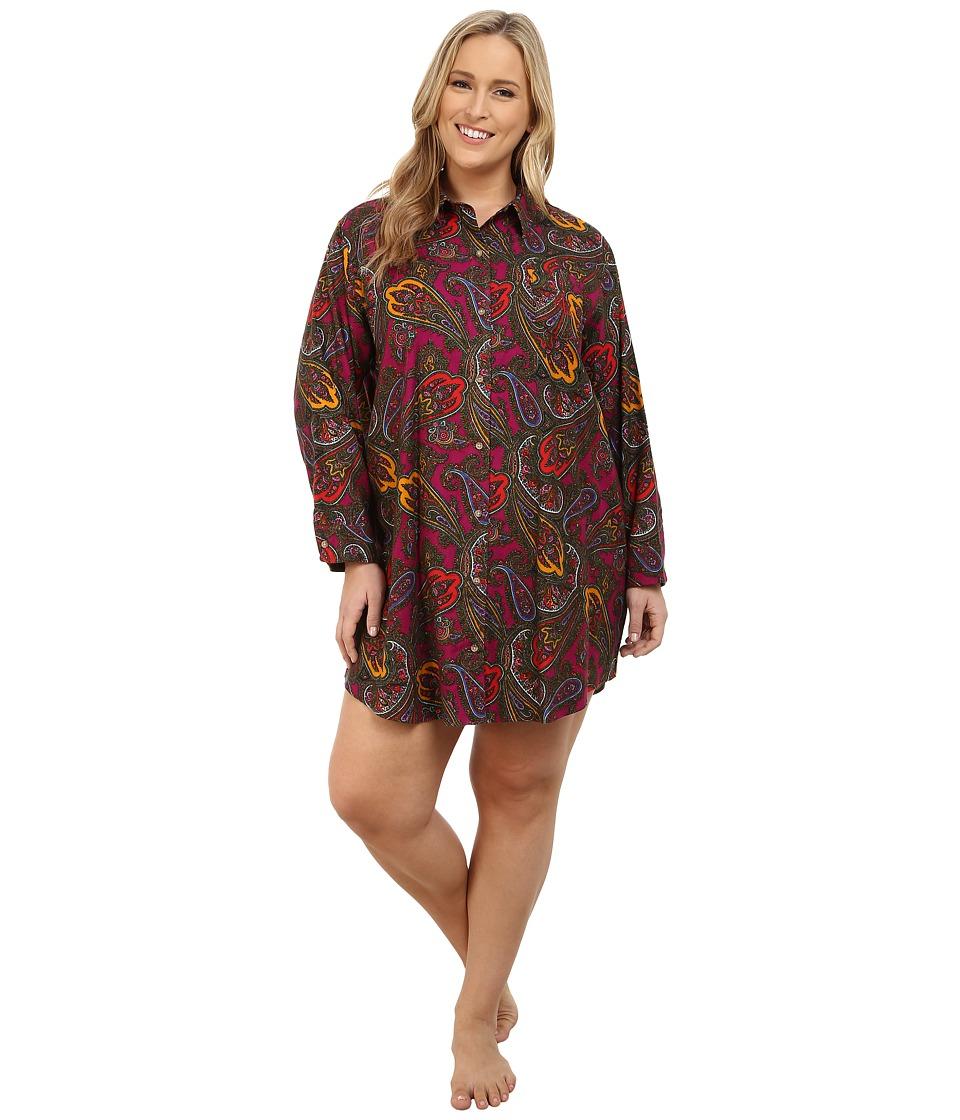 LAUREN Ralph Lauren - Plus Size Flannel Sleepshirt (Addison Paisley Magenta Multi) Women's Pajama