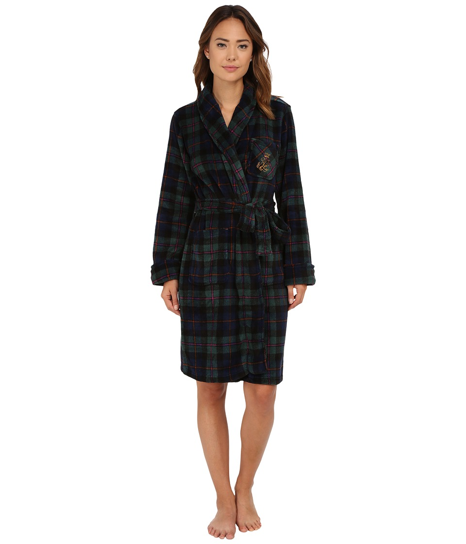 LAUREN Ralph Lauren - Folded So Soft Terry Short Robe (Wallace Plaid Green/Windsor Navy/Multi) Women's Robe