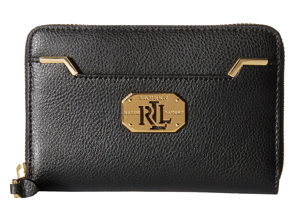 LAUREN by Ralph Lauren - Acadia Full Medium Zip Wallet (Black) Wallet Handbags