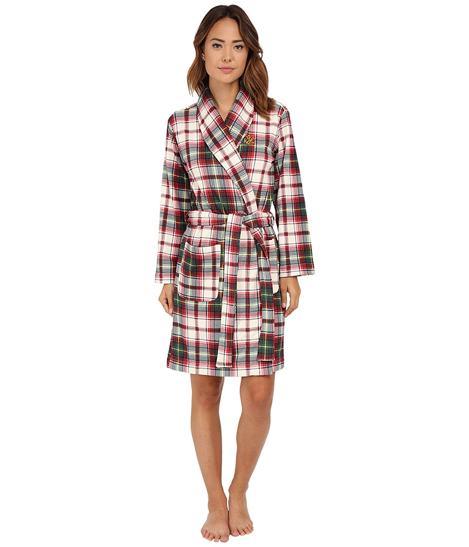 LAUREN Ralph Lauren - Folded Beaufort Fleece Short Robe (Mcintyre Plaid Cream/Red Multi) Women's Robe