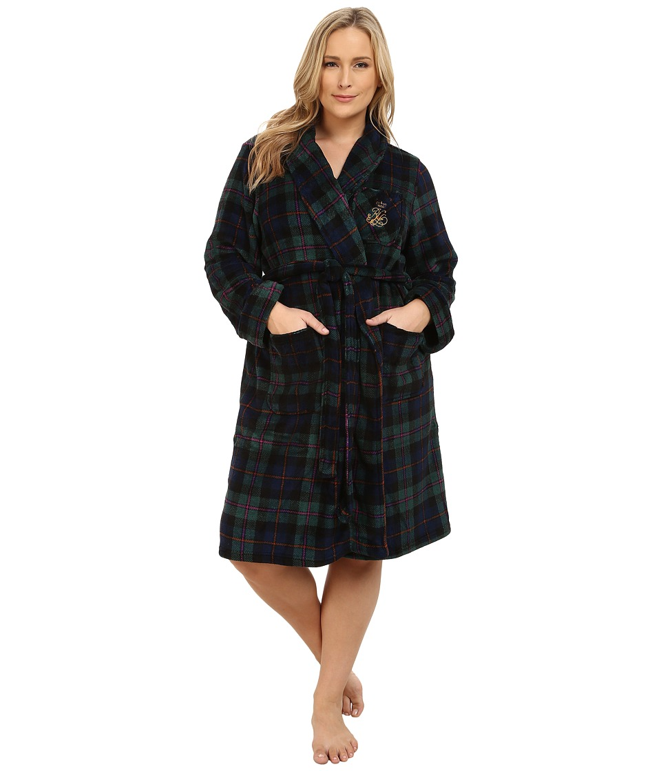 LAUREN Ralph Lauren - Plus Size Folded So Soft Terry Short Robe (Wallace Plaid Green/Windsor Navy/Multi) Women's Robe