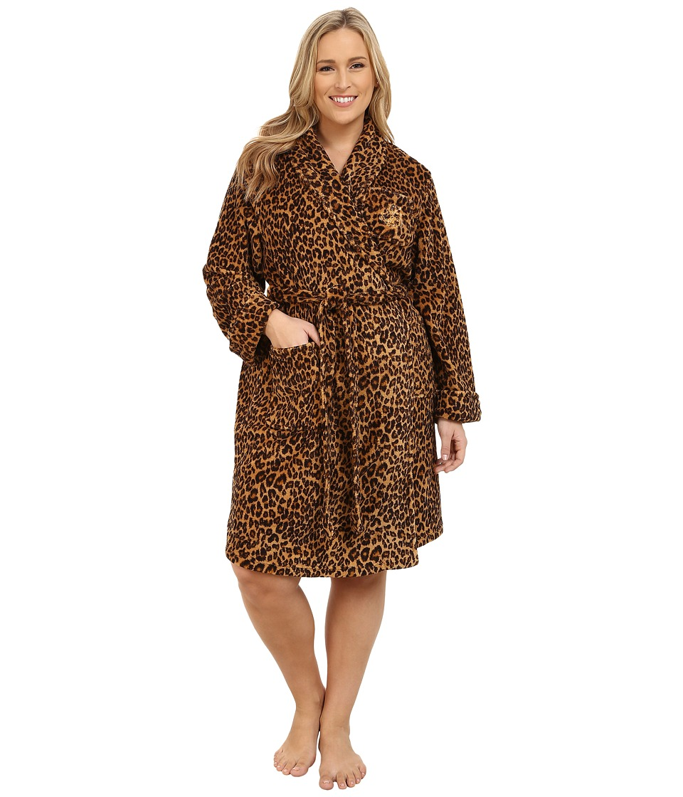 LAUREN Ralph Lauren - Plus Size Folded So Soft Terry Short Robe (Keene Leopard) Women's Robe