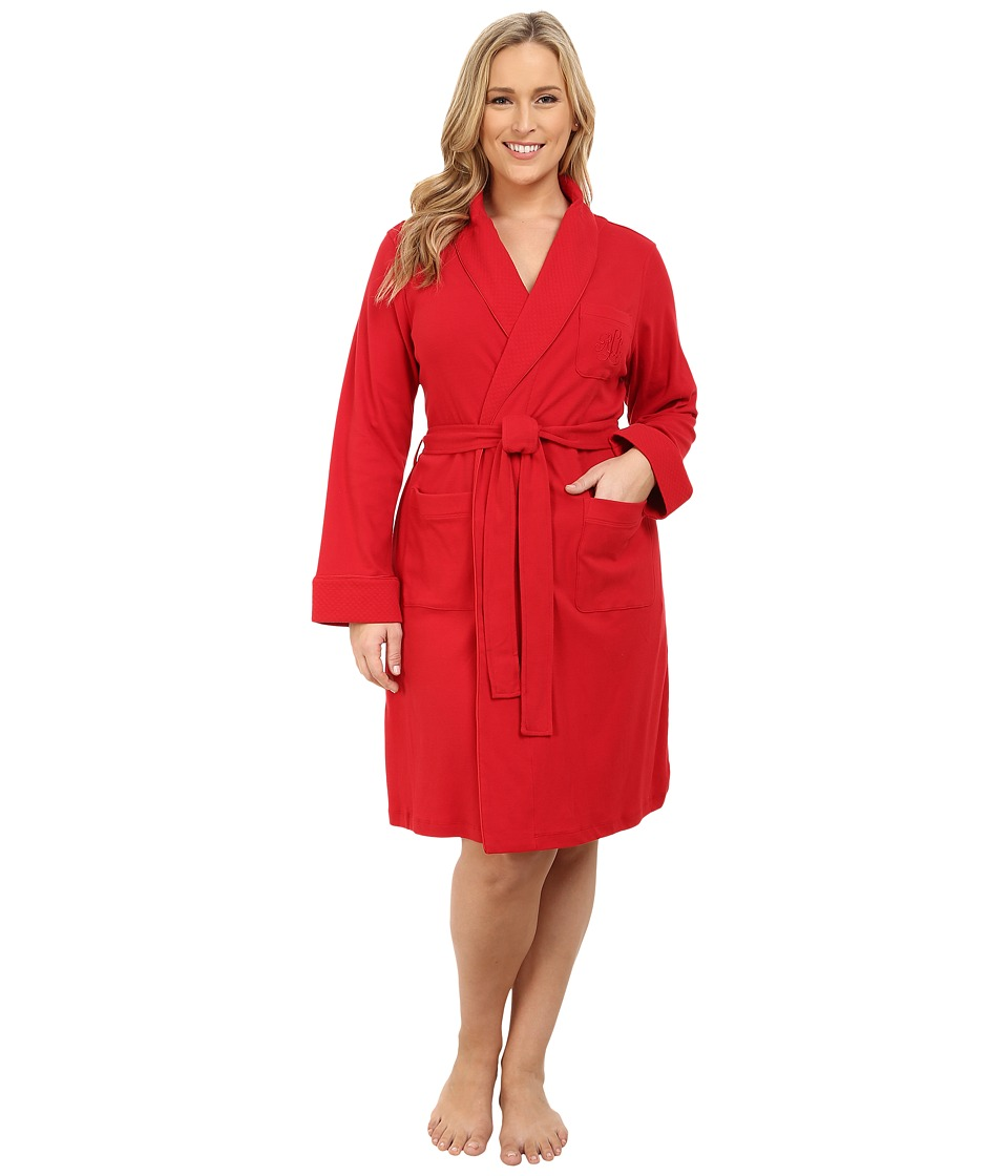 LAUREN Ralph Lauren - Plus Size Essentials Quilted Collar and Cuff Robe (Holiday Red) Women's Robe