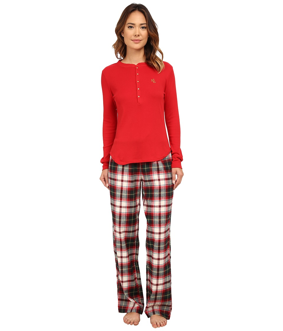 LAUREN Ralph Lauren - Folded Knit Top/Woven Pants PJ Set (Mcintyre Plaid Cream/Red Multi) Women
