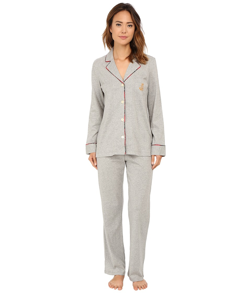 LAUREN Ralph Lauren - Cotton Jersey PJ (Grey Heather) Women's Pajama Sets