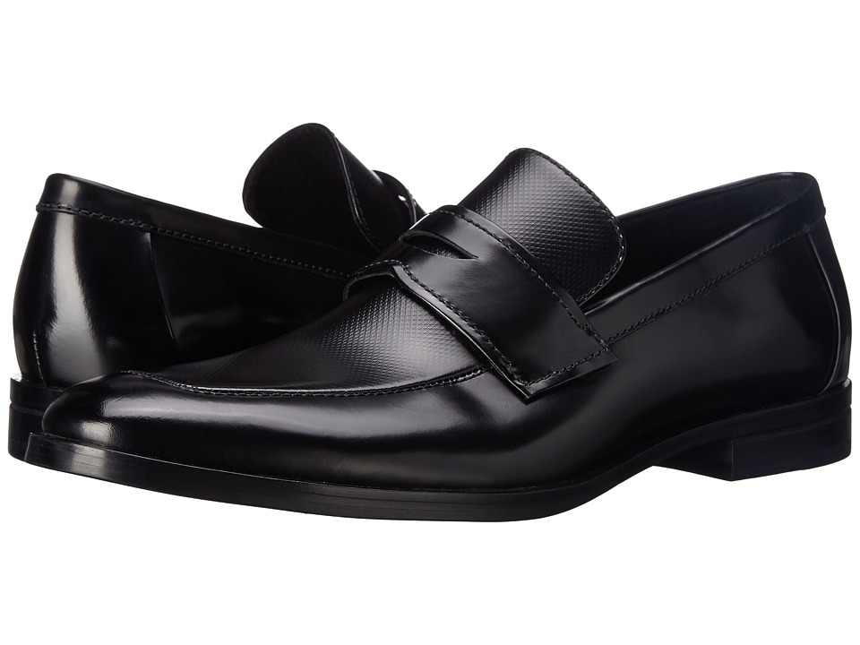 Calvin Klein - Karl (Black Box Texture) Men's Slip-on Dress Shoes