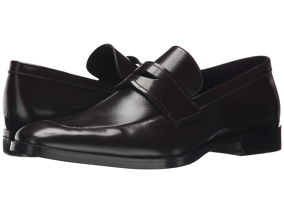 Calvin Klein - Karl (Dark Brown Box Texture) Men's Slip-on Dress Shoes