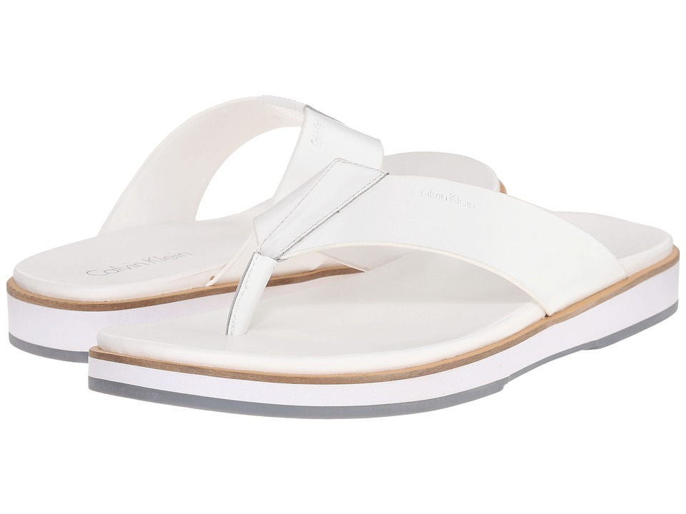 Calvin Klein - Deano (White Matte Box Leather) Men's Sandals
