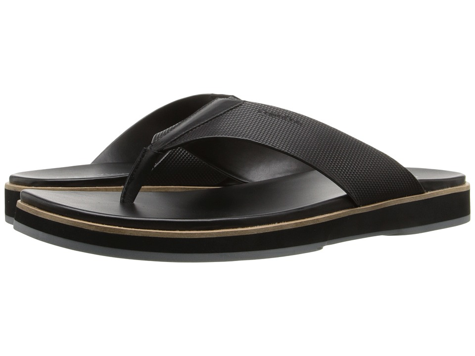Calvin Klein - Deano (Black Stud Emboss Leather) Men's Sandals