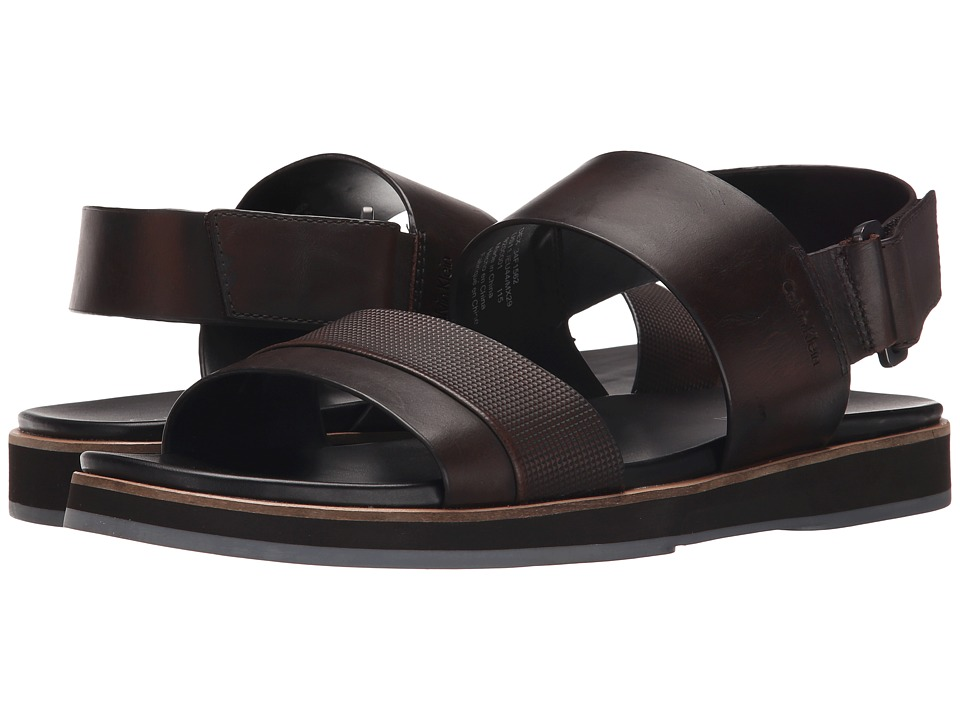 Calvin Klein - Dex (Brown Stud Emboss Leather) Men's Sandals