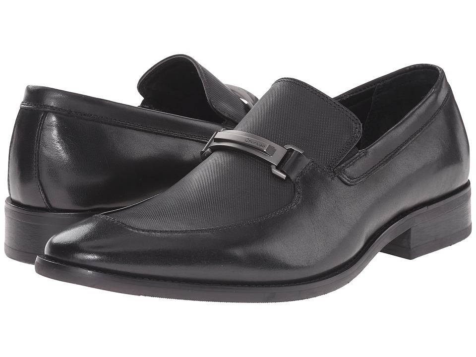 Calvin Klein - Rufus (Black Leather/Emboss) Men's Slip on Shoes