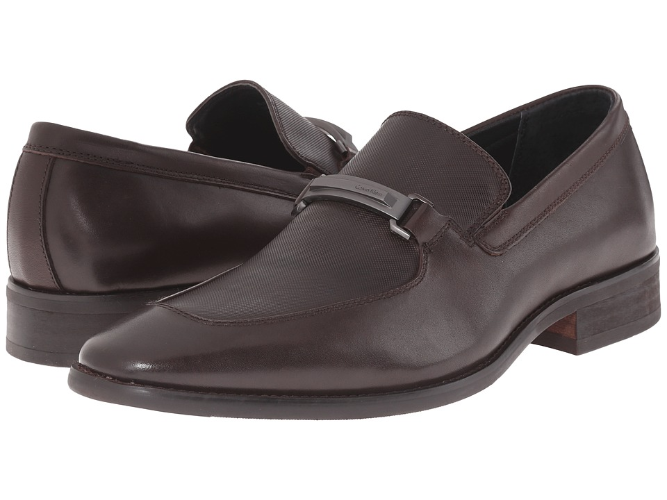 Calvin Klein - Rufus (Dark Brown Leather/Emboss) Men's Slip on Shoes