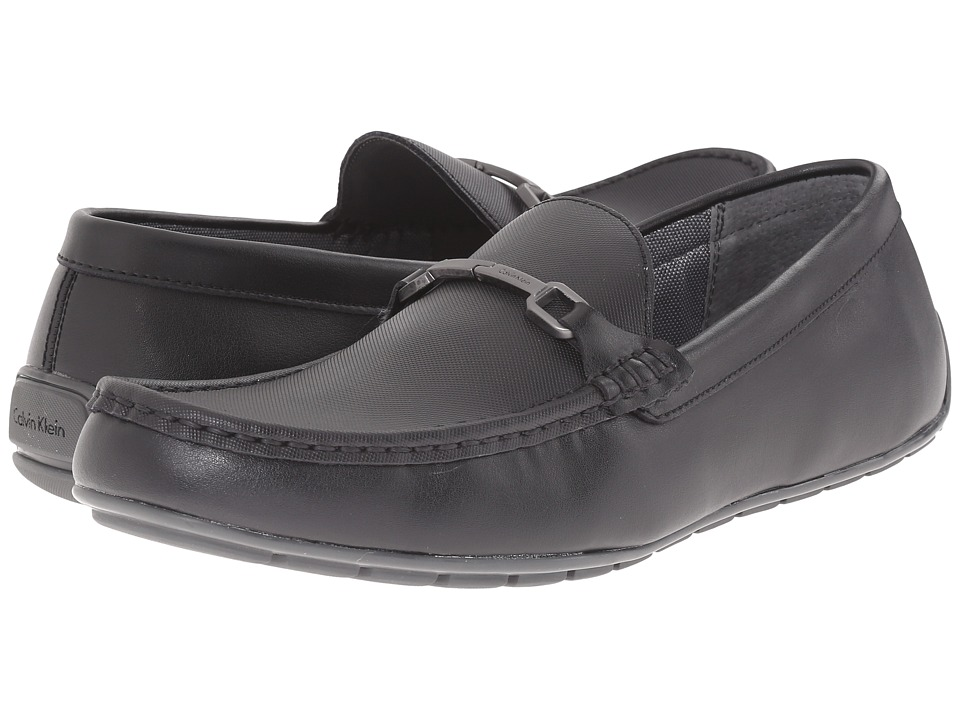Calvin Klein - Isley (Black Leather) Men's Slip on Shoes