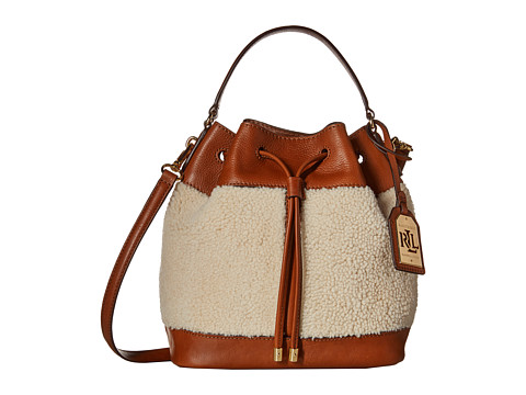 LAUREN by Ralph Lauren - Oxford Shearling Drawstring (Bridle Brown/Natural) Drawstring Handbags
