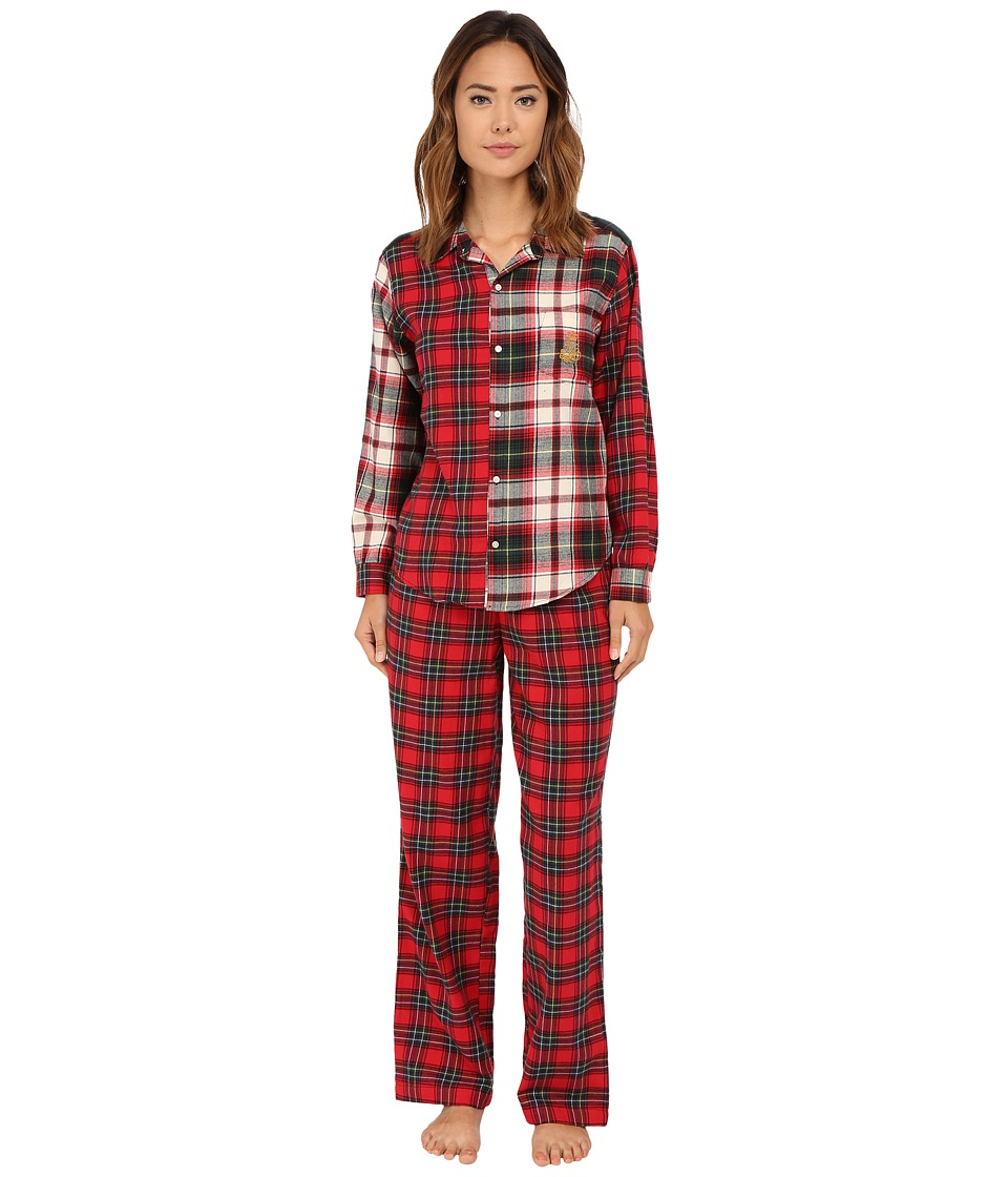LAUREN Ralph Lauren - Folded Mix Media Pajama (Mcintyre Plaid Cream) Women's Pajama Sets