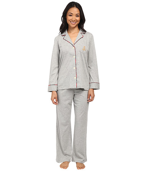 LAUREN by Ralph Lauren - Petite Cotton Jersey PJ (Grey Heather) Women's Pajama Sets