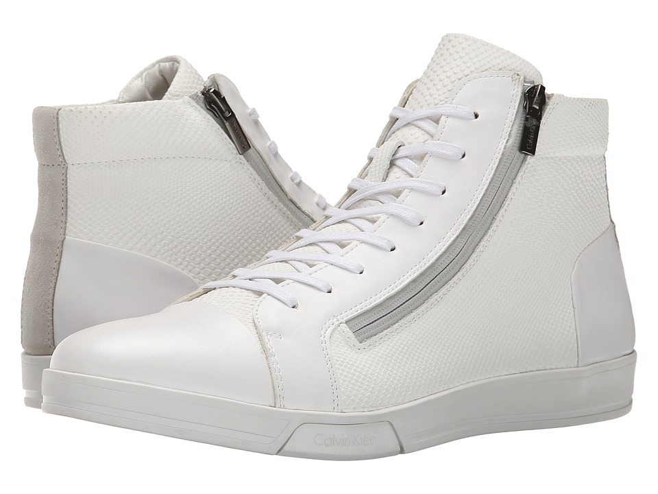 Calvin Klein - Berke (White Emboss Leather) Men's Lace-up Boots