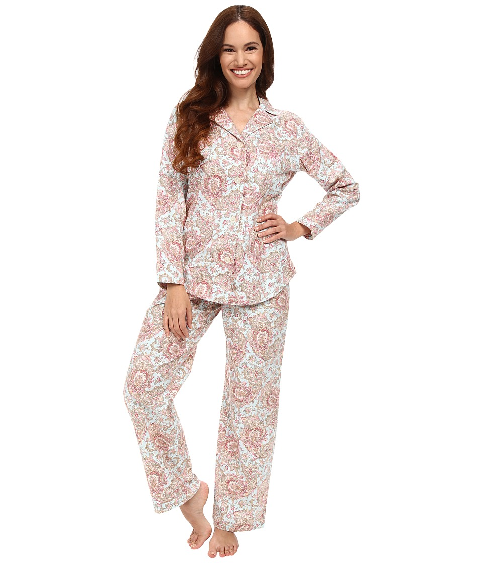 LAUREN Ralph Lauren - Petite Brushed Twill Notch Collar PJ (Serena Paisley Blue Multi) Women's Pajama Sets