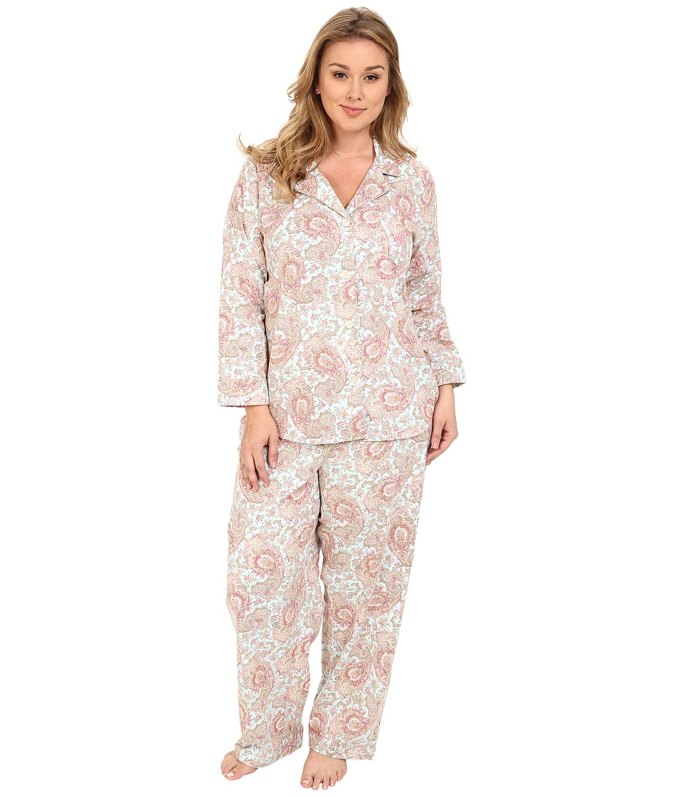LAUREN Ralph Lauren - Plus Size Brushed Twill Notch Collar PJ (Serena Paisley Blue Multi) Women's Pajama Sets