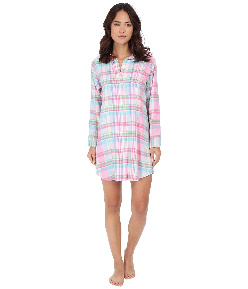 LAUREN Ralph Lauren - Flannel His Shirt (Charlotte Plaid Pink Multi) Women's Pajama