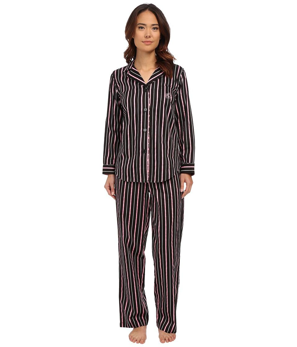 LAUREN Ralph Lauren - Sateen Notch Collar PJ (Audrey Stripe Black/Silk White/Pink) Women's Pajama Sets