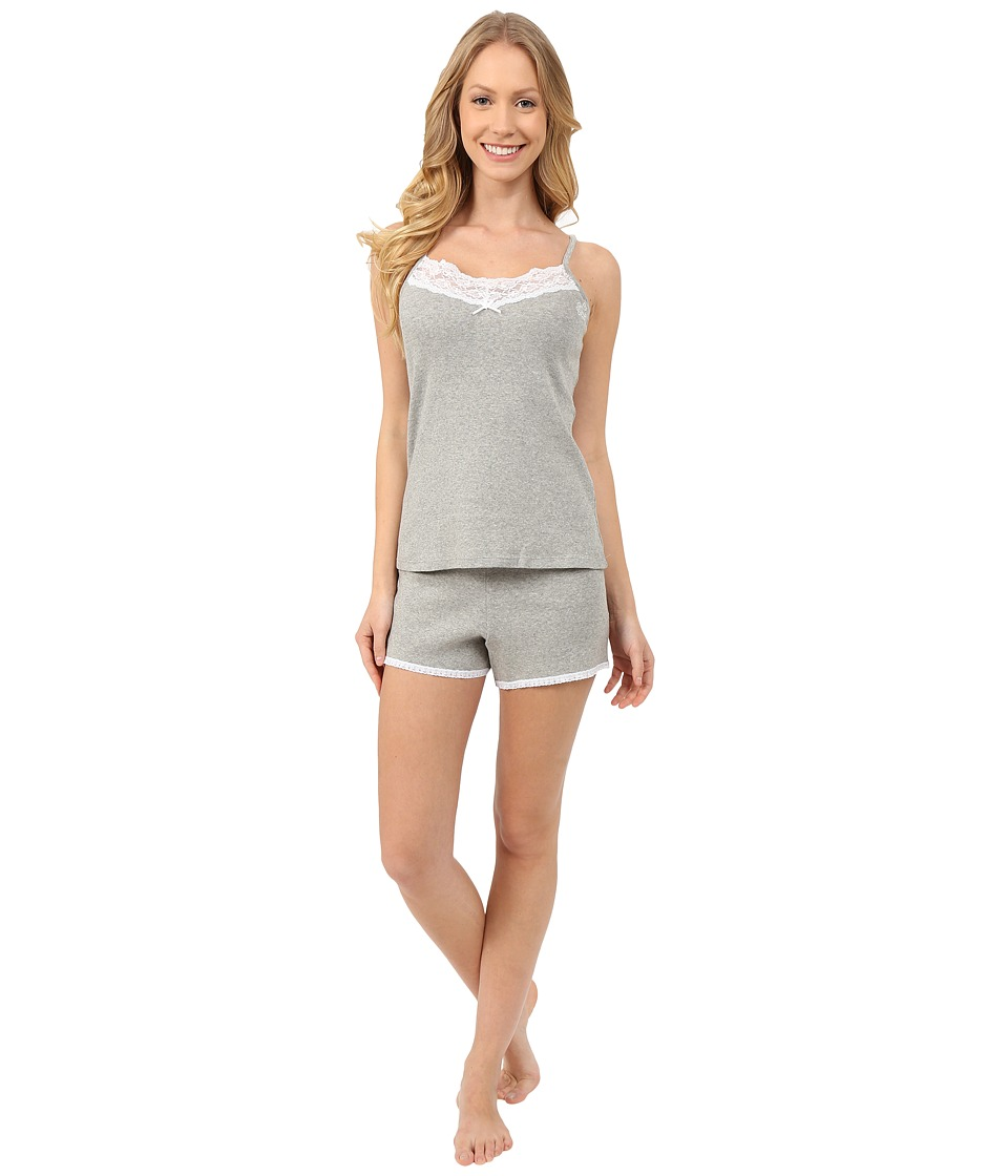 LAUREN Ralph Lauren - Lace Trimmed Cami Boxer Set (Grey Heather) Women's Pajama Sets