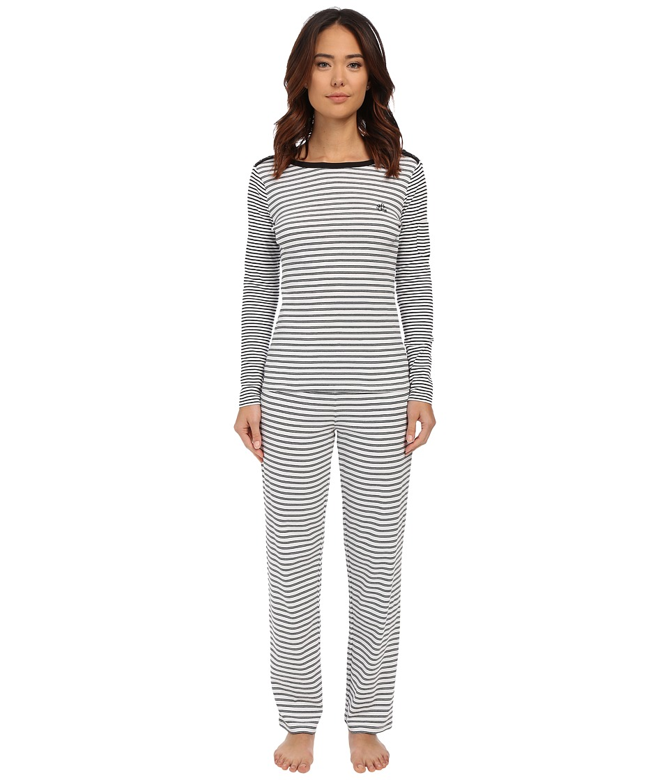 LAUREN Ralph Lauren - Long Sleeve PJ Set (Darci Stripe Silk White/Black) Women's Pajama Sets