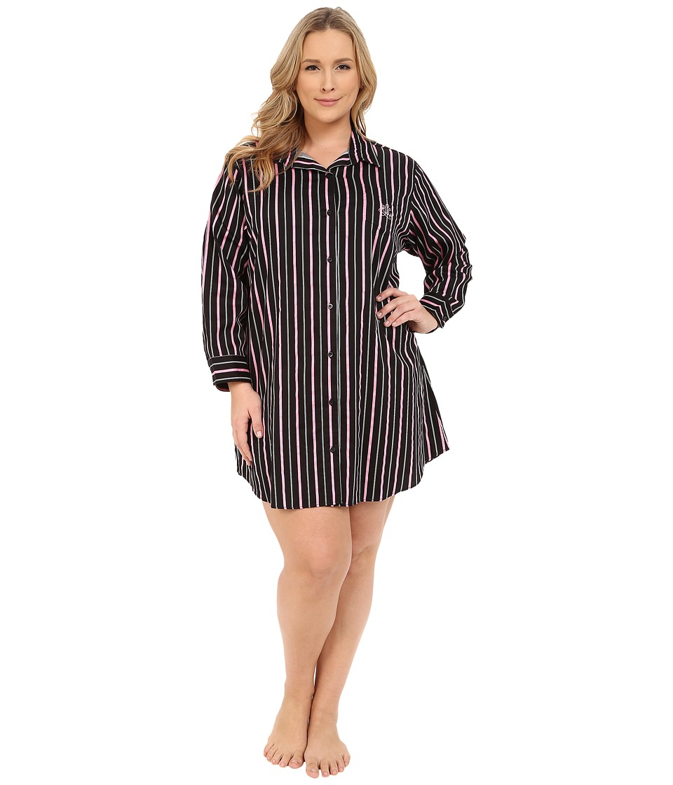 LAUREN Ralph Lauren - Plus Size Sateen His Shirt (Audrey Stripe Black/Silk White/Pink) Women's Pajama