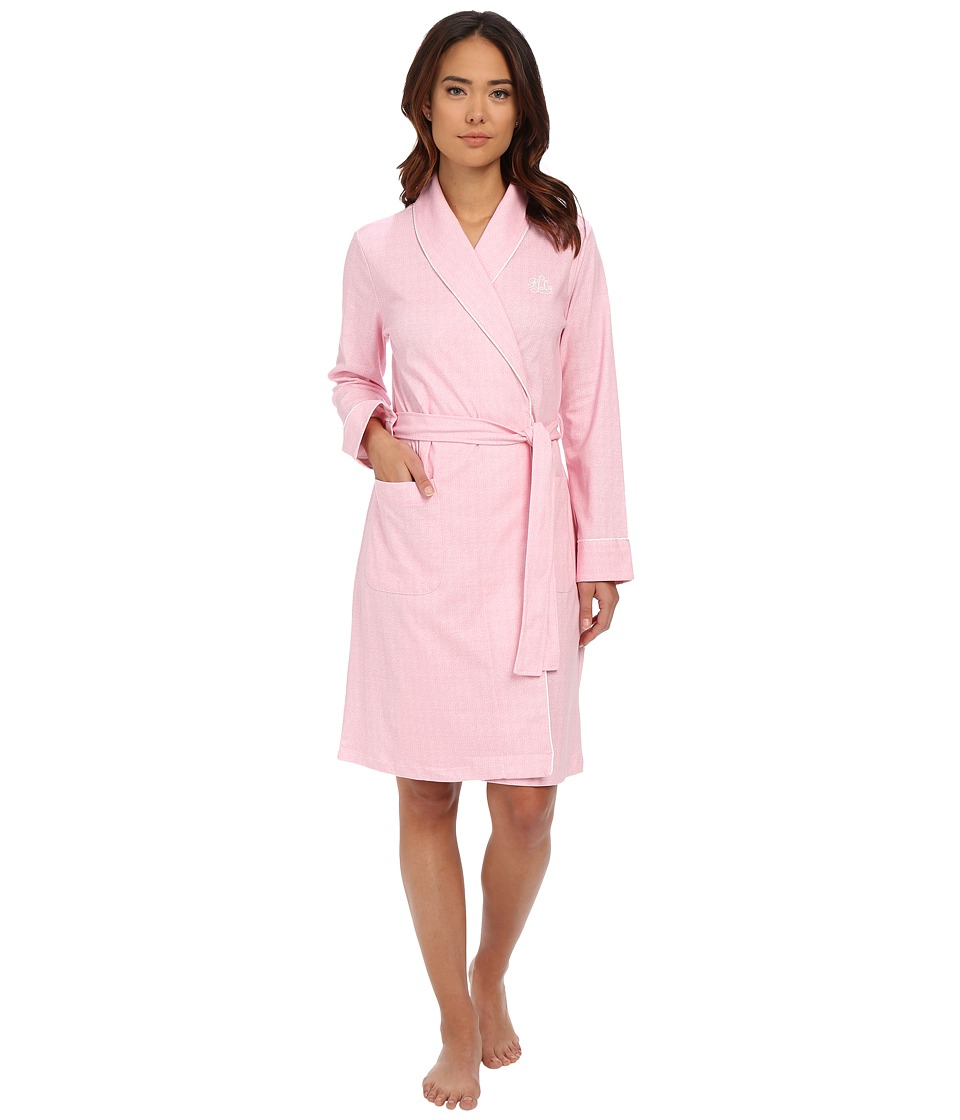 LAUREN Ralph Lauren - Interlock Short Shawl Collar Robe (Nina Herringbone Pink) Women's Robe