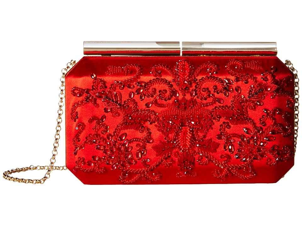 Oscar de la Renta - Saya (Red Embroidered Satin) Clutch Handbags