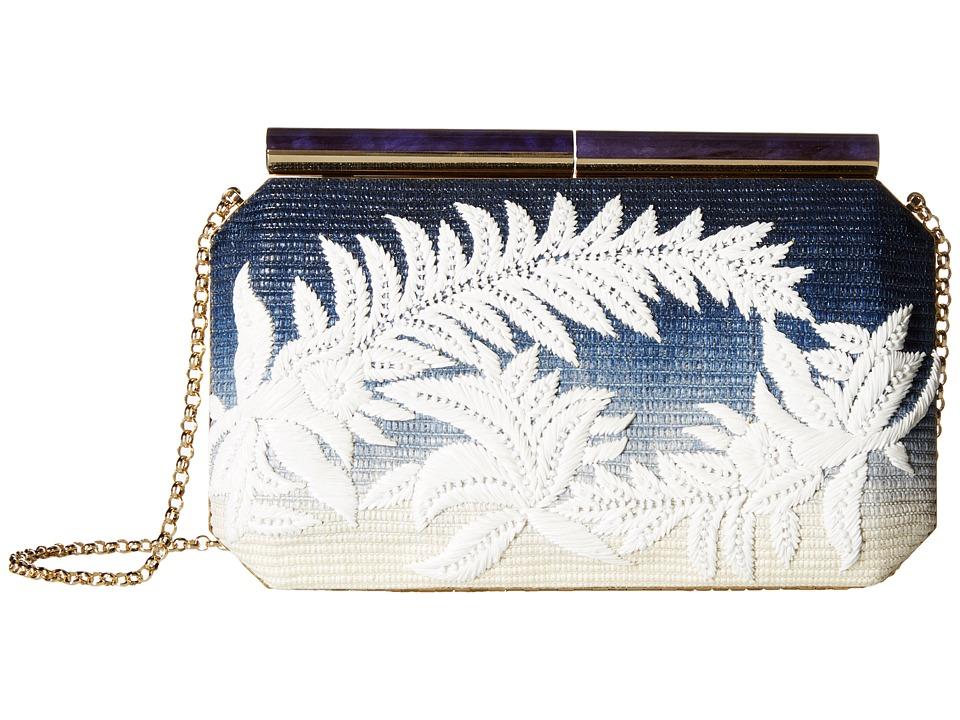 Oscar de la Renta - Saya (Marine Blue Raffia) Clutch Handbags