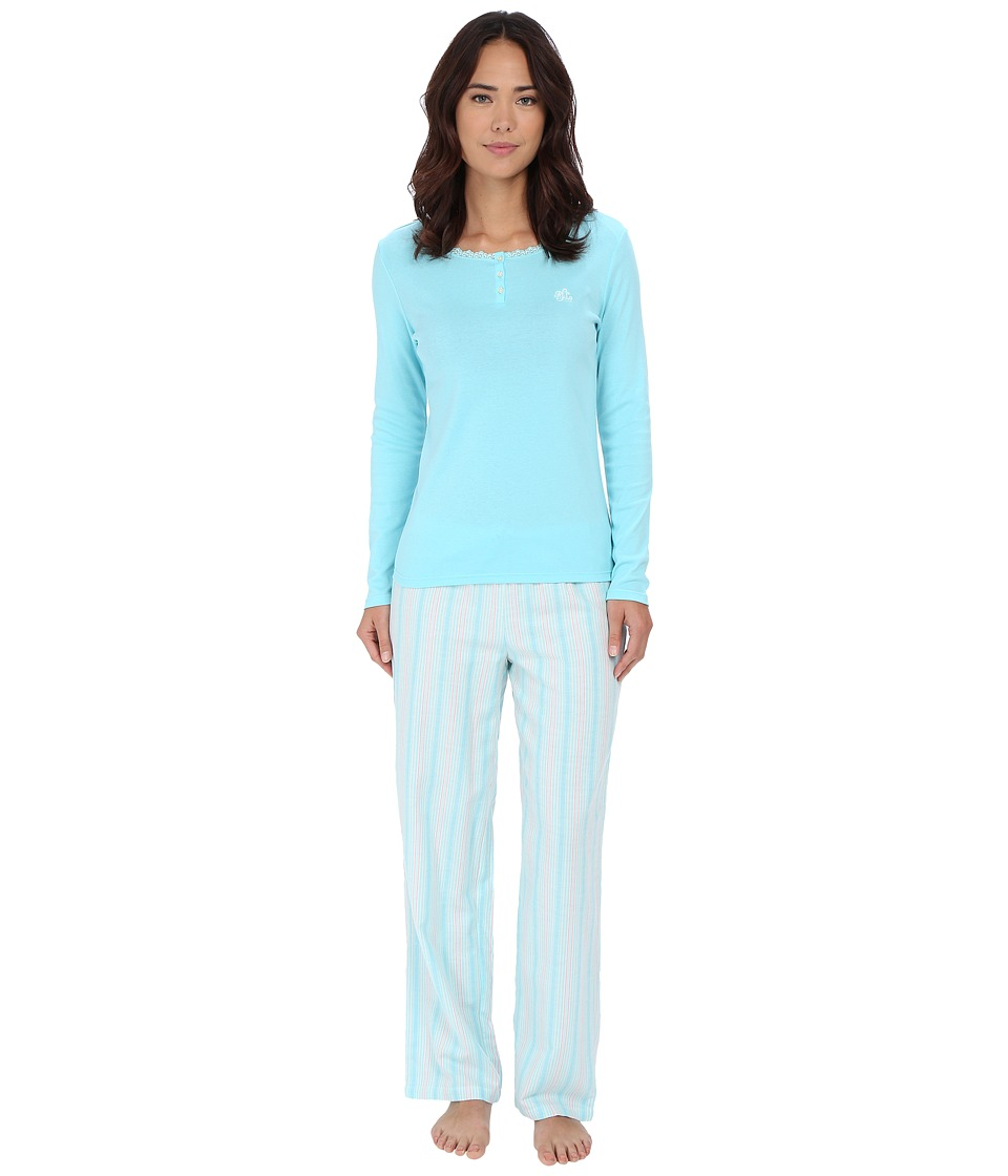 LAUREN Ralph Lauren - Knit Top/Woven Pants PJ Set (Monique Stripe Blue/Ivory/Pink) Women's Pajama Sets