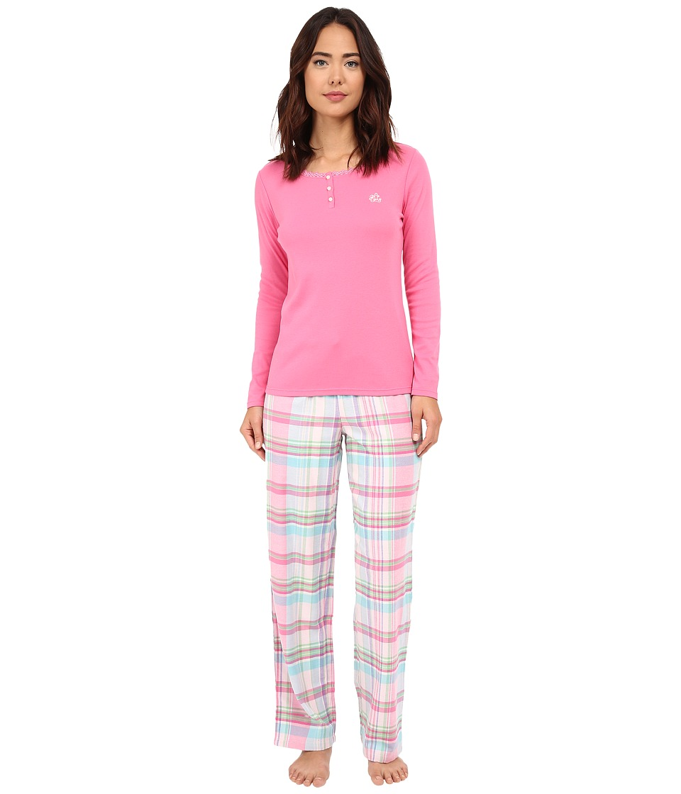 LAUREN Ralph Lauren - Knit Top/Woven Pants PJ Set (Charlotte Plaid Pink Multi) Women's Pajama Sets