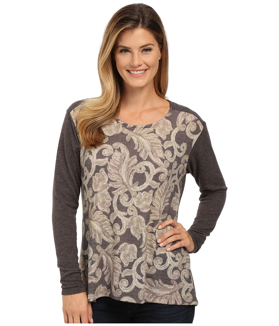 B Collection by Bobeau - Mix Media Printed Top (Charcoal) Women's Clothing