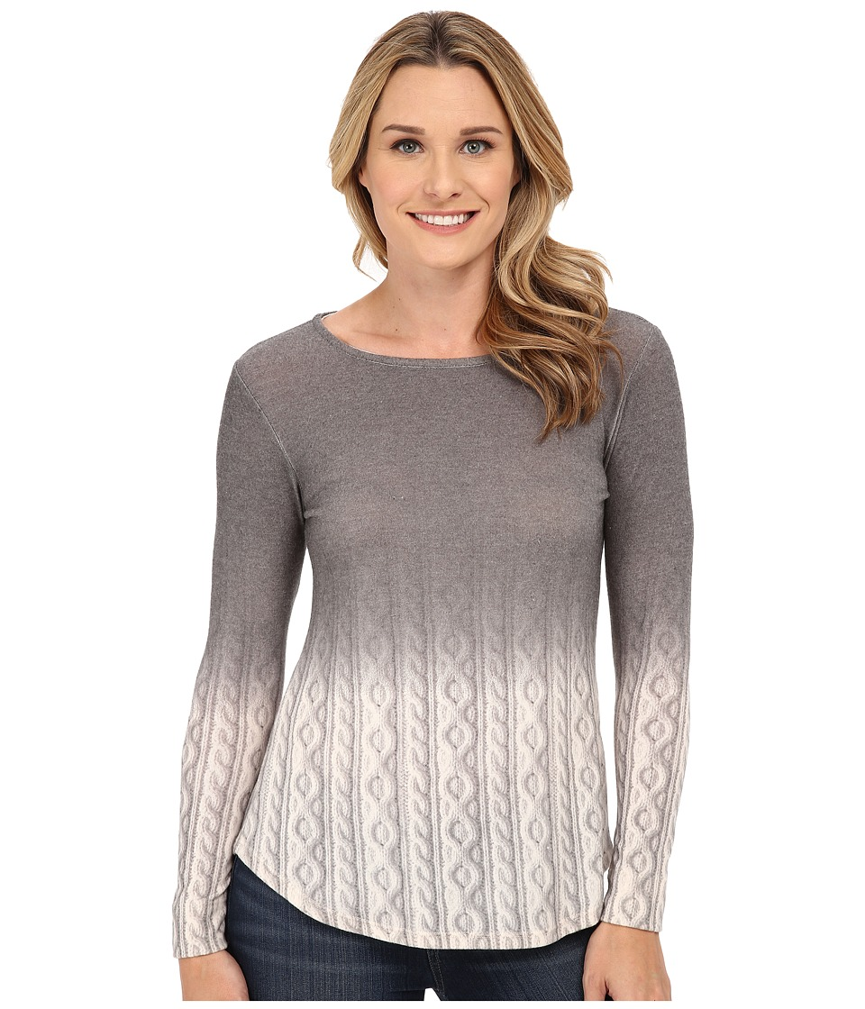B Collection by Bobeau - Ombre Cable Print Top (Grey) Women's Sweater