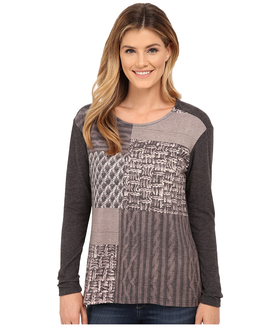B Collection by Bobeau - Patchwork Print Knit Top (Charcoal Grey) Women's Clothing