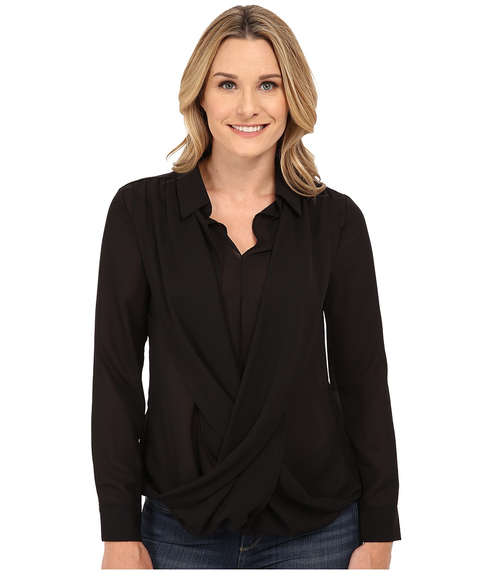 B Collection by Bobeau - Cross Front Blouse (Black) Women's Blouse