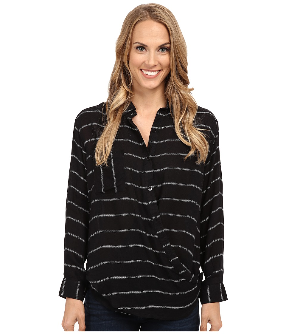 B Collection by Bobeau - Cross Detail Blouse (Black Stripe) Women's Blouse
