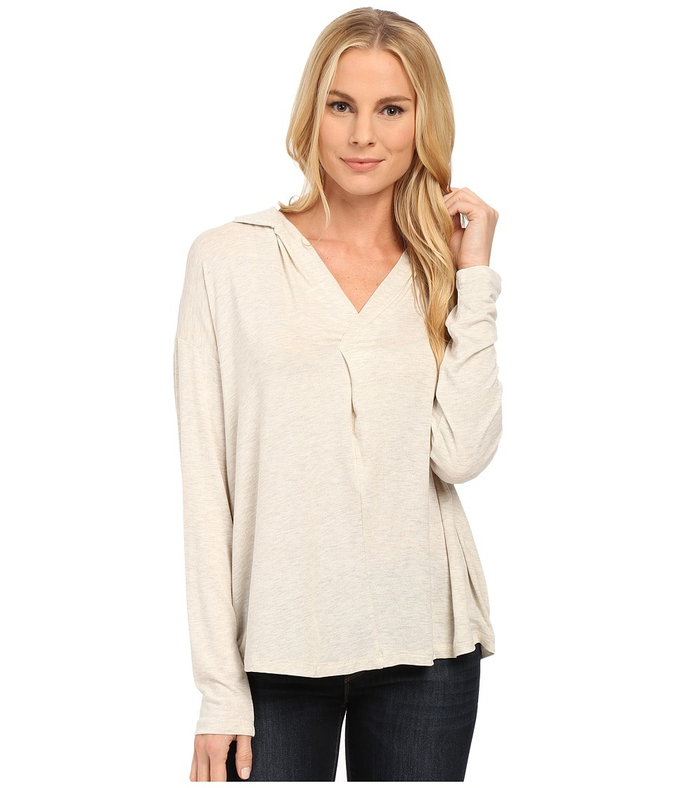 B Collection by Bobeau - V-Neck Knit Blouse (Oatmeal) Women's Blouse