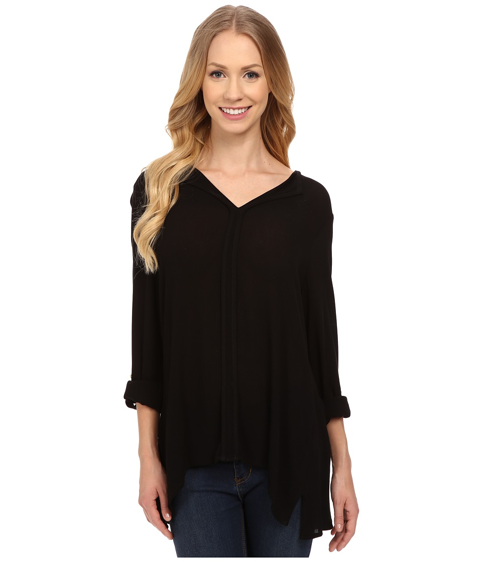 B Collection by Bobeau - Pleat Back Woven Blouse (Black) Women's Blouse