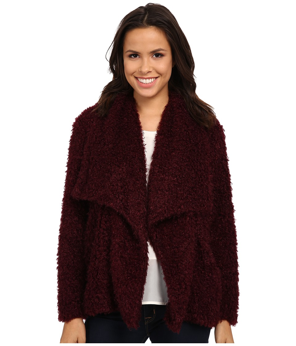 B Collection by Bobeau - Fuzzy Jacket (Burgundy) Women's Coat