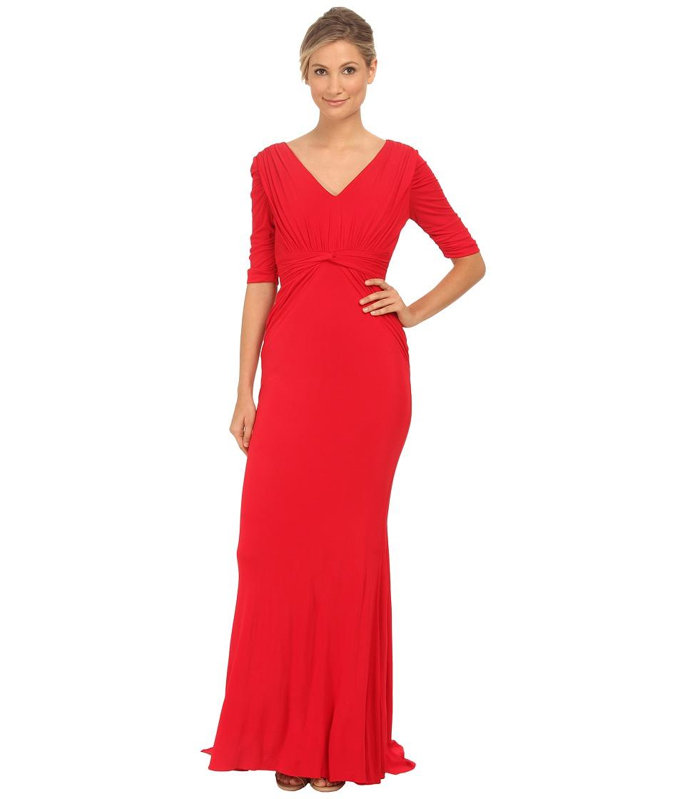Badgley Mischka - Stretch Matte Jersey V-Neck Gown (Red) Women's Dress