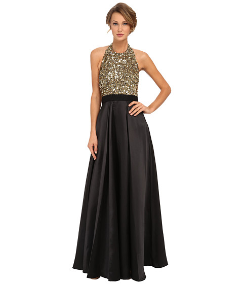Badgley Mischka - Sequin Halter Ball Gown (Black Gold) Women's Dress