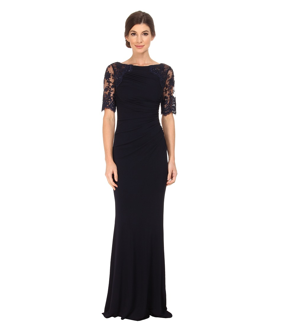 Badgley Mischka Short Sleeve Lace and Matte Jersey Gown Navy Dress